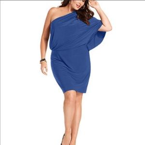 jessica simpson blue one shoulder dress